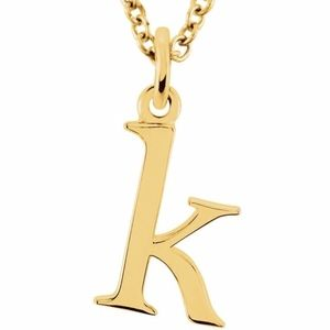 14k Gold Lowercase Initial 'k' necklace